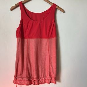 LULULEMON coral striped tank top cinched bottom